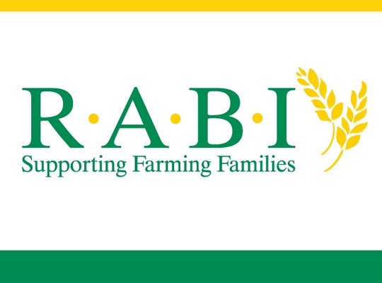 R.A.B.I Logo, green text with corn