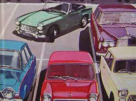 Ladybird type image of cars parked