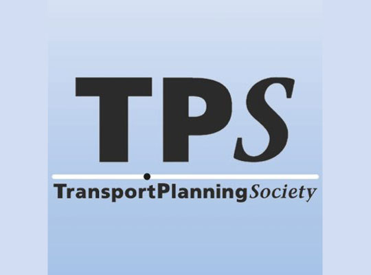 Transport Planning Society logo, black text on blue background
