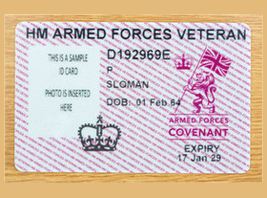 Copy of a HM Armed Forces Veteran card with the name SLOMAN and the DOB 1 Feb 64