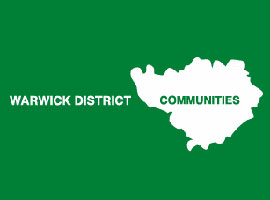 Outline of Warwick District map in white on green background
