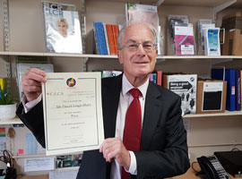 David Leigh Hunt, Clerk of Radford Semele Parish Council with his CiLCA certificate